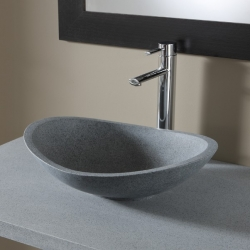Vasque à poser ovale en pierre de qualité