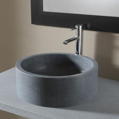 Vasque à poser en pierre gris cylindrique