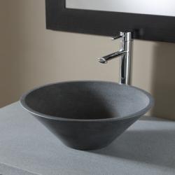Vasque à poser ronde évasée en pierre gris