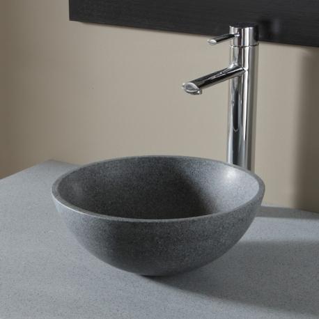 Vasque à poser bol en pierre gris ardoisé