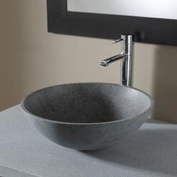 Vasque à poser bol en pierre naturelle gris ardoisé