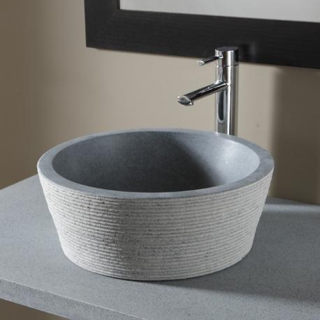 Vasque à poser en pierre 100% naturelle bouchardée gris ardoisé