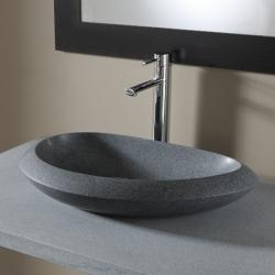 Vasque à poser galet en pierre naturelle de qualité gris ardoisé