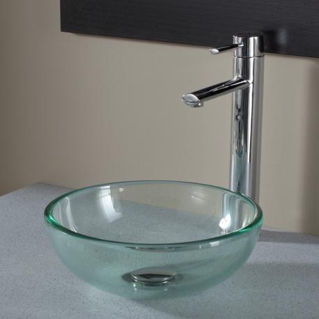 Vasque à poser ronde petit diamètre en verre transparent