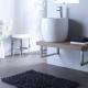 Meuble de salle bain à suspendre équipé d'un lavabo haut design blanc