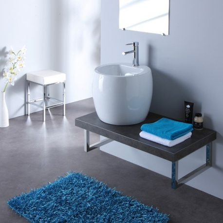 Meuble de salle bain à suspendre équipé d'un mini totem design blanc