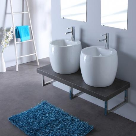 Meuble de salle bain gris avec double vasques blanche design
