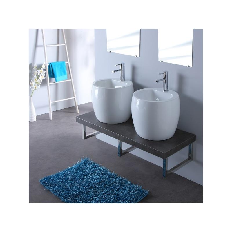 Console de salle de bain vente meuble gris double vasques for Console de salle de bain