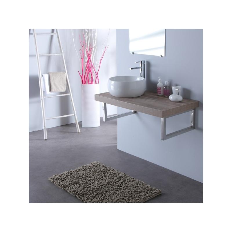 Console suspendue pour salle de bain meuble gris et - Meuble stratifie ...