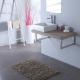 Vasque carrée elec blanche + Plan stratifié 90 cm Gris laméllé