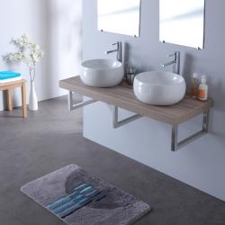 Console double vasque mailla en 120 cm gris lamelle