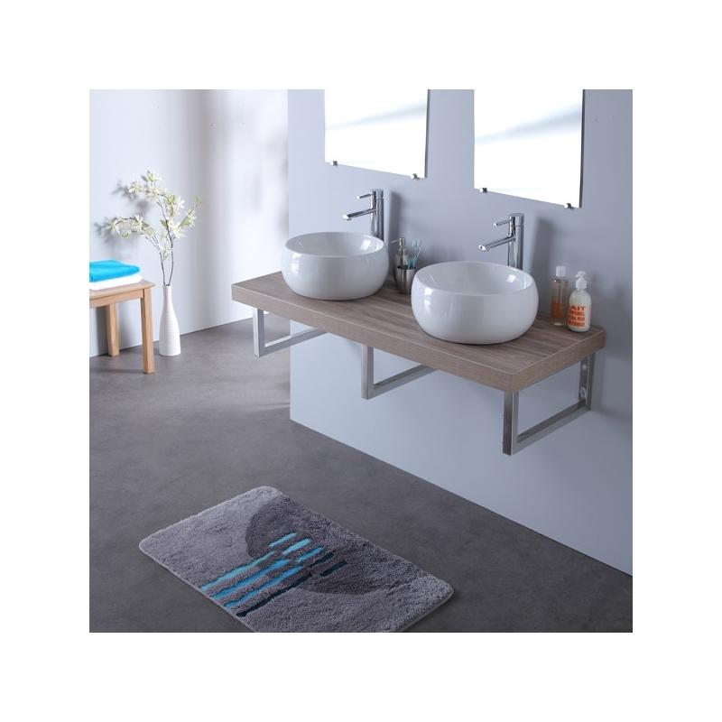 meuble suspendu pour salle de bain double vasque en ceramique. Black Bedroom Furniture Sets. Home Design Ideas